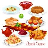 Danish cuisine dishes for menu design Royalty Free Stock Image