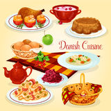 Danish cuisine healthy lunch dishes cartoon icon Stock Photo