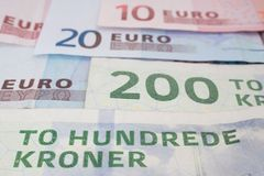 Danish and european money Royalty Free Stock Image