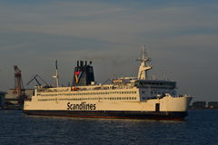 Danish Ferry Ship sailing in Rostock, Germany. Royalty Free Stock Images