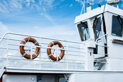 Danish ferry - two lifesavers at the steering house Royalty Free Stock Photos