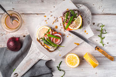 Danish fish sandwiches and mustard sauce Stock Images