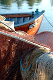 Danish Fishingnet and boat. Danish Fishing boat and net in Karebæksminde, Denmark Royalty Free Stock Image
