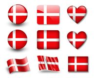 The Danish flag. Set of icons and flags. glossy and matte on a white background Stock Photography