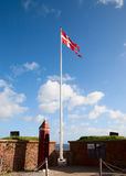 Danish flag. Shooting at the Hamlet castle Royalty Free Stock Photography