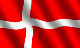 Danish Flag. Flag of Denmark with waving effect Royalty Free Stock Photo