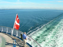 Danish flag. Ship with danish flag Royalty Free Stock Images