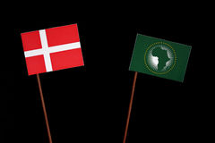 Danish flag with African Union flag isolated on black Royalty Free Stock Photography