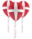 Danish flag balloon. On three party balloons Stock Photos