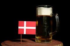 Danish flag with beer mug isolated on black Royalty Free Stock Photos
