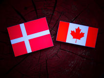 Danish flag with Canadian flag on a tree stump isolated. Danish flag with Canadian flag on a tree stump Royalty Free Stock Image