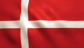 Danish Flag. Denmark flag background with fabric texture Royalty Free Stock Images