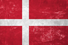 Danish Flag. Denmark - Danish Flag on Old Grunge Texture Background Stock Photos