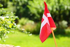 Danish flag on green grassy background Stock Images