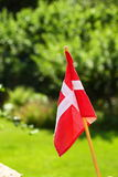 Danish flag on green grassy background Royalty Free Stock Images