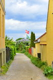 Danish flag and houses Royalty Free Stock Image