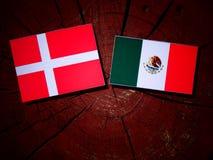 Danish flag with Mexican flag on a tree stump isolated. Danish flag with Mexican flag on a tree stump Stock Photos