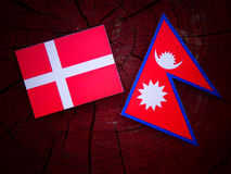 Danish flag with Nepali flag on a tree stump isolated Royalty Free Stock Photos