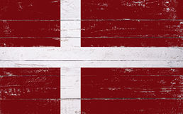 Danish flag painted on a wooden board Royalty Free Stock Photography