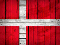 Danish flag painted on wooden boards Stock Photography