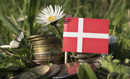 Danish flag with stack of money coins with grass. And flowers Stock Photography