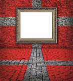 Danish flag style. Elegant frame on the red wall Stock Images