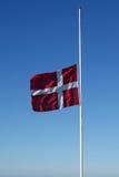 Danish flag swaying on half Royalty Free Stock Image