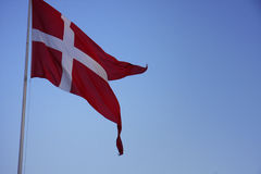 Danish Flag swaying in the wind. Royalty Free Stock Images