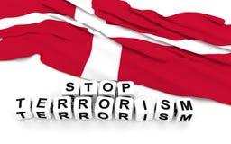 Danish flag and text stop terrorism. Stock Photo