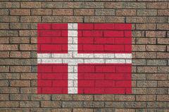 Danish flag on wall Royalty Free Stock Photos