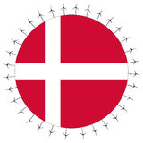 Danish flag with wind turbines Stock Photography