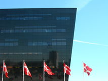 Danish flags. The Royal Library in Copenhagen Royalty Free Stock Images