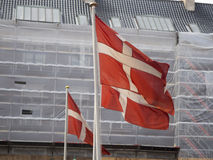 Danish flags. In the centre of Copenhagen, Denmark Royalty Free Stock Photography