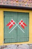 Danish flags Ertholmene Denmark Stock Photo