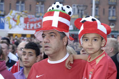 DANISH FOOTBALL FANS Royalty Free Stock Photography
