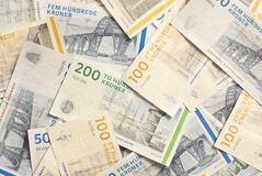 Danish Foreign Currency. Denmark's banknotes, in different denominations Royalty Free Stock Photos