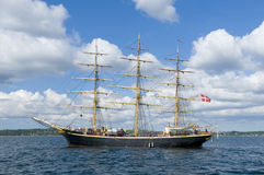 Danish fullrigger Georg Stage. The Danish three-masted fullrigger Georg Stage anchored at Ebeltoft Vig, Denmark. Georg Stage is a sail training ship built in Stock Photography