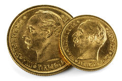Danish gold coins royalty free stock photos
