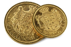 Danish gold coins royalty free stock image