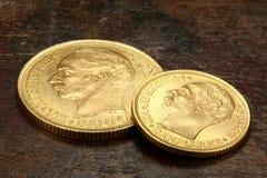 Danish gold coins stock photo