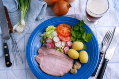 Danish ham with potatoes Royalty Free Stock Photo