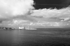 Danish harbour. Danish harbour of Helsingor with Kronborg castle in the background stock photo