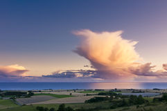Danish Idyll. Dramatic clouds over the coast of the island Moen, Denmark Royalty Free Stock Images