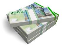 Danish kronas. Stacks of 200 Danish kronas banknotes isolated on white background Stock Photography
