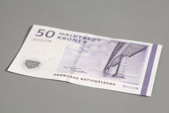 50 danish krone banknote. On gray background Royalty Free Stock Images