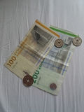 Danish Krone notes and coins, Denmark Stock Photos