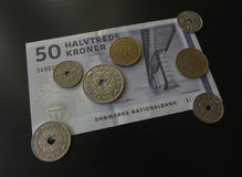Danish Krone notes and coins, Denmark Royalty Free Stock Photo