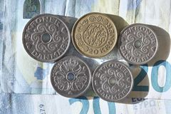 Danish Krone choins. Danish money Stock Photography