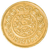 20 danish krone coin. Isolated on white background Stock Photos