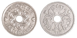 2 danish krone coin. Isolated on white background Stock Image
